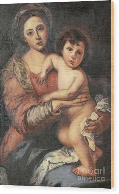 Madona And Child Wood Print