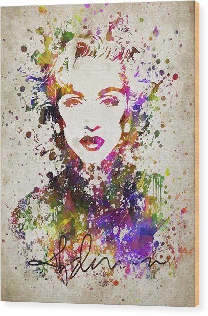 Madonna In Color Wood Print