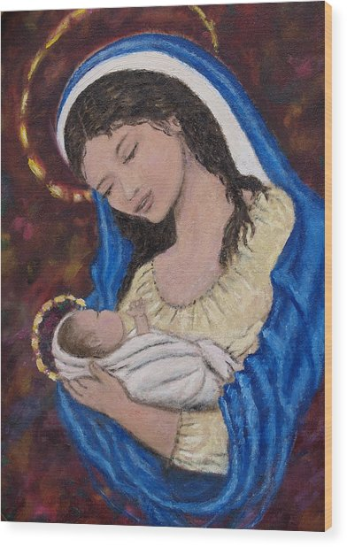 Madonna Of The Burgundy Tapestry - Cropped Wood Print