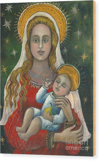 Madonna With Baby Jesus Wood Print by Vera Zales