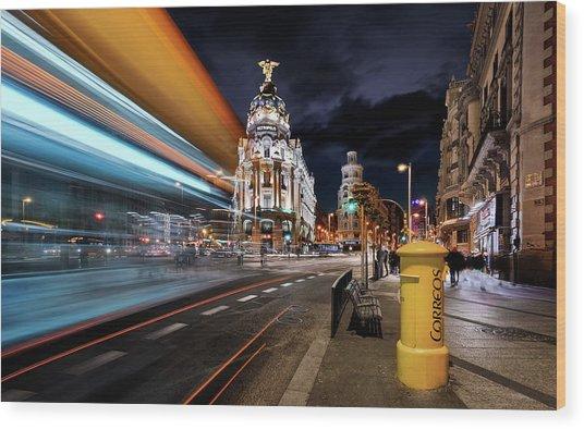 Madrid City Lights IIi Wood Print