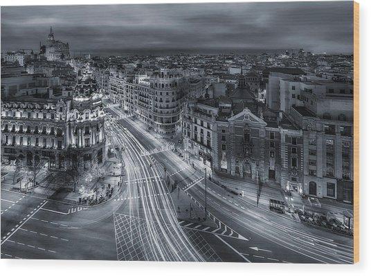 Madrid City Lights Wood Print