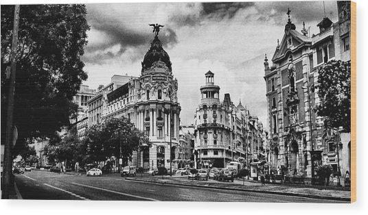 Madrid Metropolis Bw Wood Print