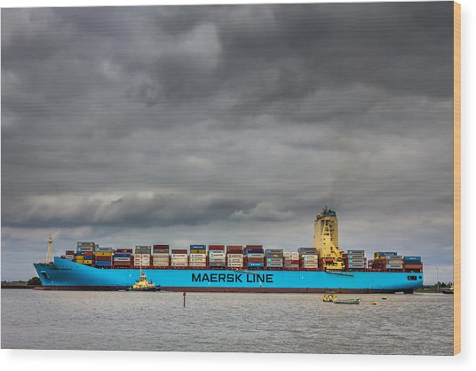 Maersk Container Ship. Wood Print by Gary Gillette