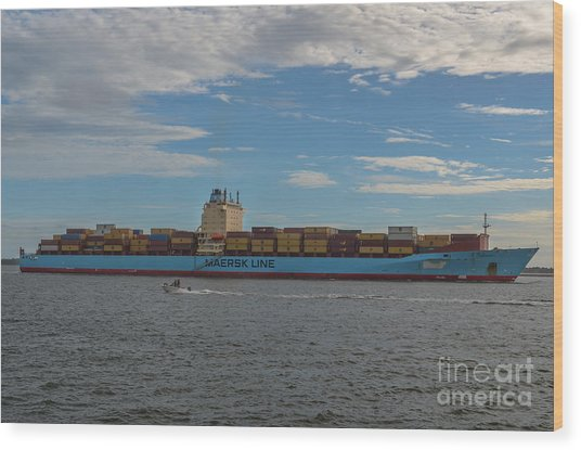 Ocean Going Freighter Wood Print