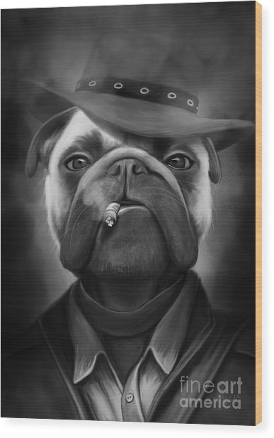 Mafia Dog Wood Print by Ivan  Pawluk