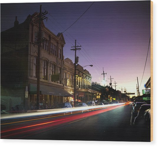 Magazine Street Sunset In Uptown Nola Wood Print