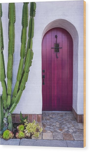 Magenta Door Wood Print by Thomas Hall
