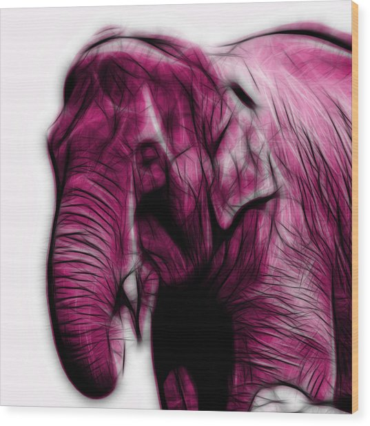 Magenta Elephant 3374 - F - S Wood Print