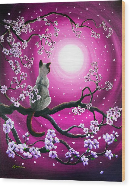 Magenta Morning Sakura Wood Print
