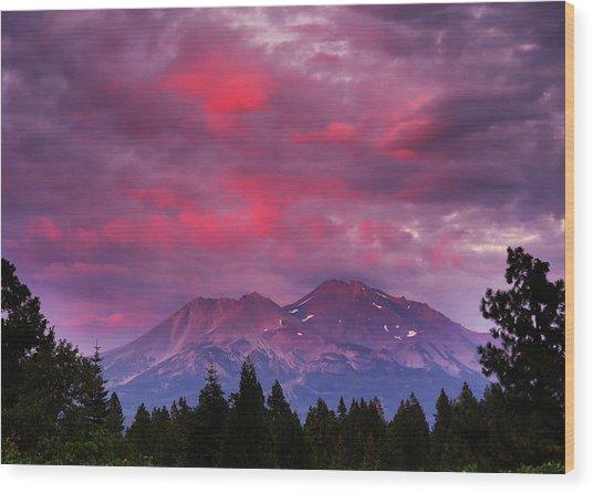 Magenta Sunset Mount Shasta Wood Print by Jeff Leland