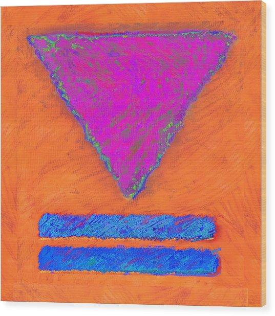 Magenta Triangle On Orange Wood Print