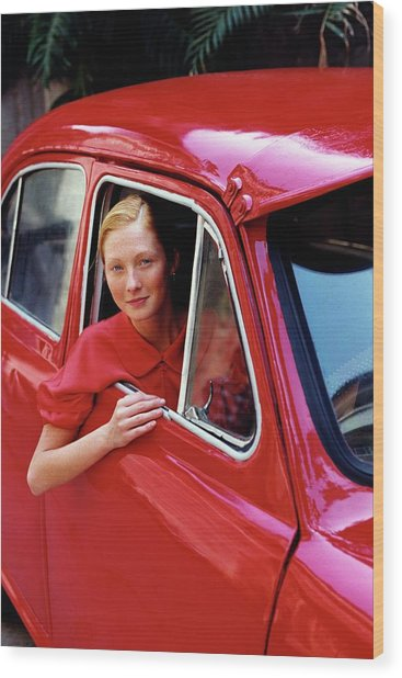 Maggie Rizer Sitting In A Vintage Car Wood Print