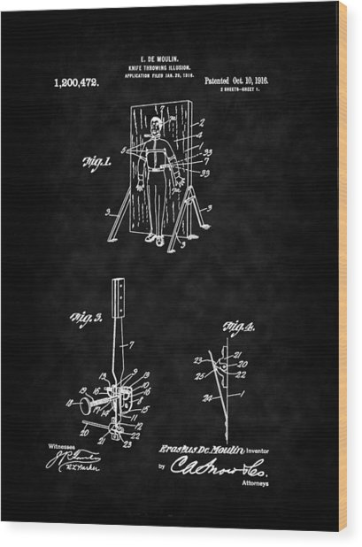 Magic - 1916 Knife Trowing Illusion Patent Wood Print by Barry Jones