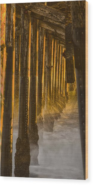 Magic Hour Under Seal Beach Pier Wood Print