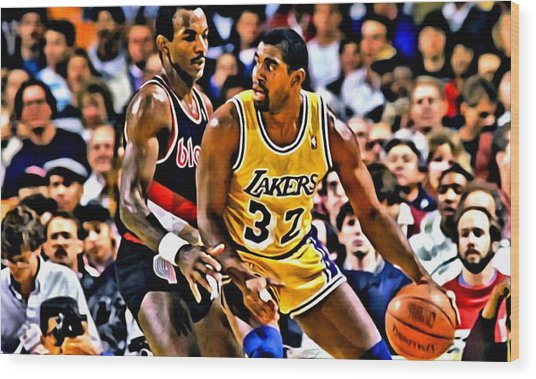 Magic Johnson Vs Clyde Drexler Wood Print