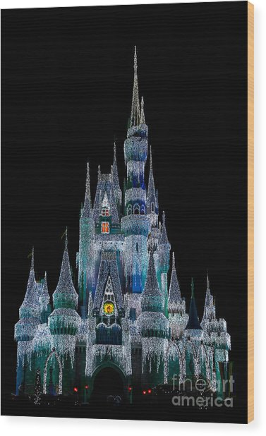 Magic Kingdom Castle Frozen Blue Frost For Christmas Wood Print