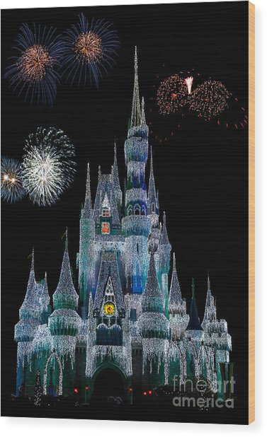 Magic Kingdom Castle Frozen Fireworks Wood Print