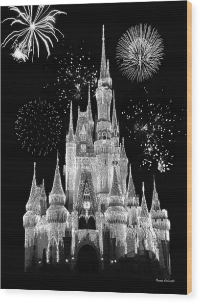 Magic Kingdom Castle In Black And White With Fireworks Walt Disney World Wood Print