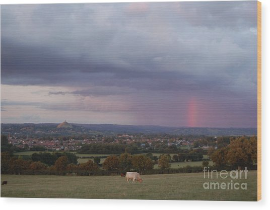 Magic Of Glastonbury Tor Wood Print
