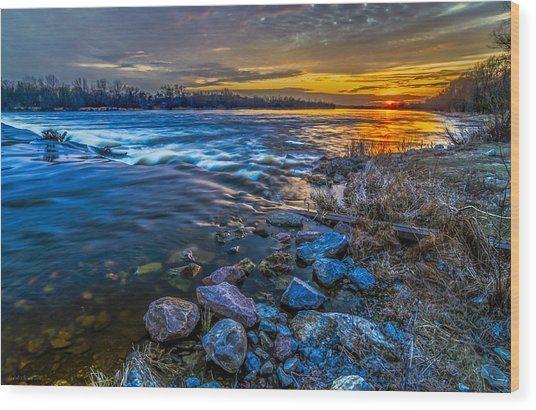 Magic Sunset Over Narew River Wood Print