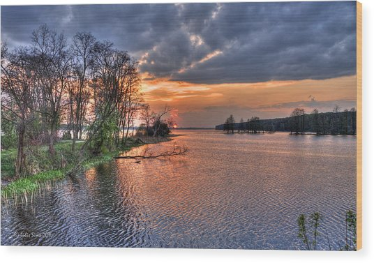 Magic Sunset Over Zegrze Lake Near Warsaw In Poland Wood Print