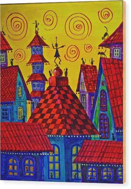 Magic Town 4 Wood Print