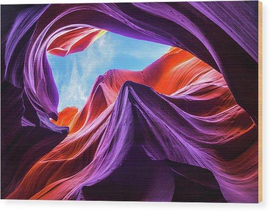 Magical Lower Antelope Canyon Wood Print by Nanouk El Gamal