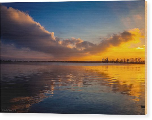 Magical Reflections Of Sundown Wood Print