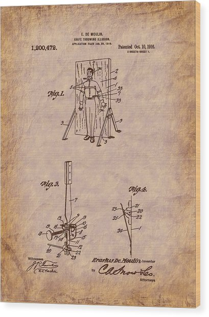 Magician - 1916 Knife Trowing Illusion Patent Wood Print by Barry Jones