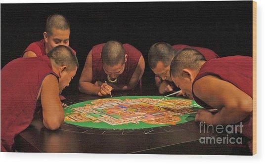 Magickal Circle Sand Painting Wood Print