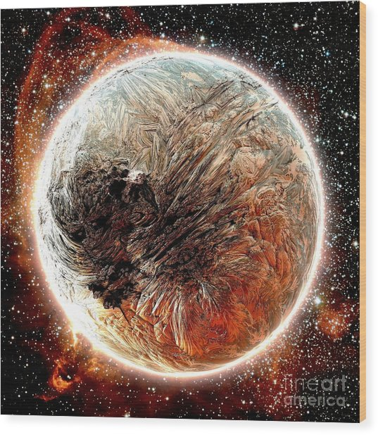 Magma Planet Wood Print by Bernard MICHEL