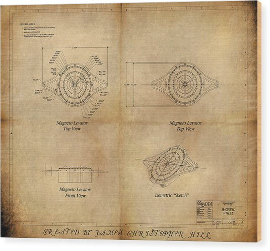 Magneto System Blueprint Wood Print