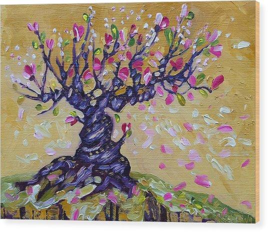 Magnolia Tree Flower Painting Oil On Canvas By Ekaterina Chernova Wood Print