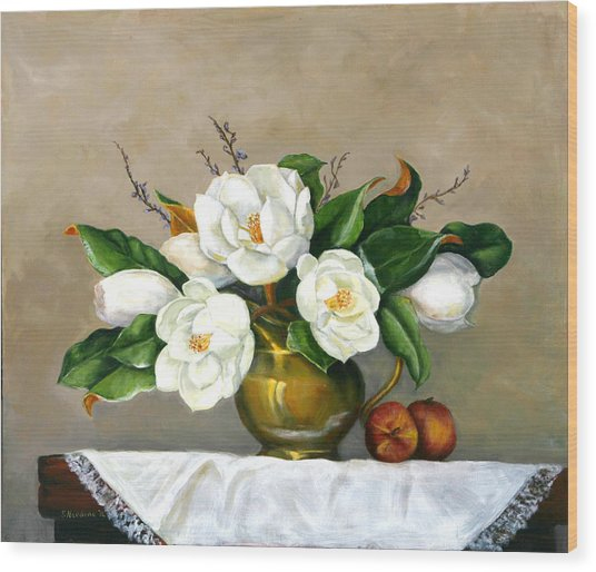 Magnolias - Southern Beauties Wood Print