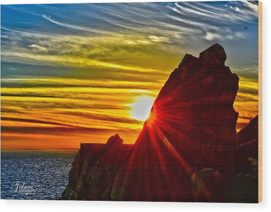 Mugu Rock Sunset Wood Print