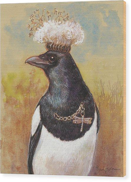 Magpie In A Milkweed Crown Wood Print