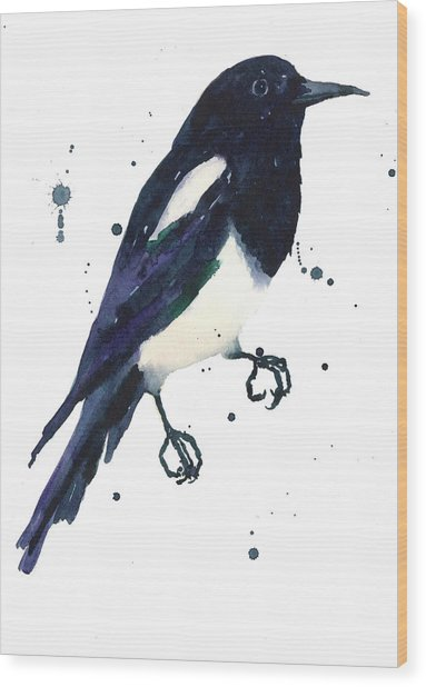 Magpie Painting Wood Print