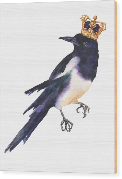 Magpie Watercolor Wood Print