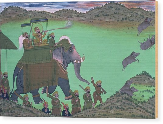 Maharana Sarup Singh Of Udaipur Shooting Boar From Elephant-back, Rajasthan, 1855  Wood Print