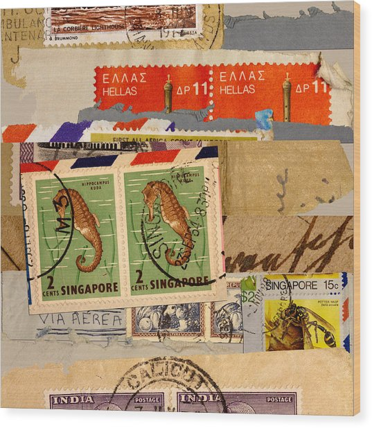 Mail Collage Singapore Seahorse Wood Print