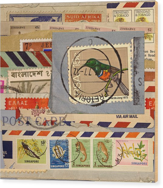 Mail Collage South Africa Wood Print