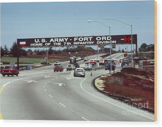 Main Gate 7th Inf. Div Fort Ord Army Base Monterey Calif. 1984 Pat Hathaway Photo Wood Print