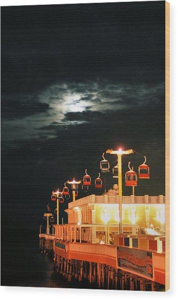 Main St Pier Sky Lift Wood Print by Paulette Maffucci
