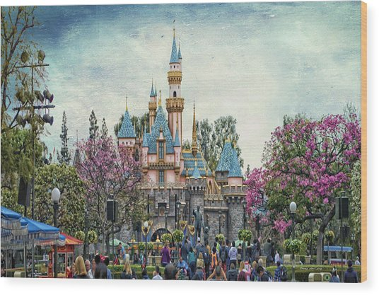 Main Street Sleeping Beauty Castle Disneyland Textured Sky Wood Print