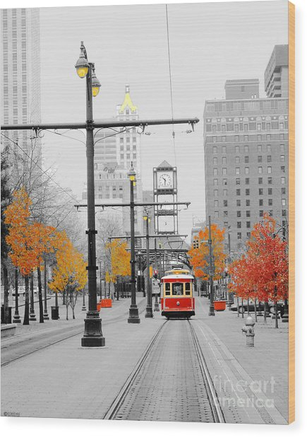 Main Street Trolley  Wood Print