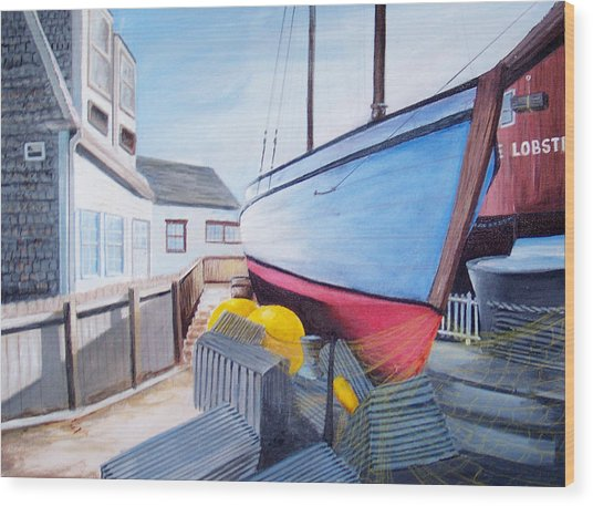Maine Boatyard Wood Print