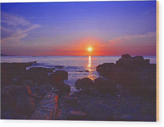 Maine Coast Sunrise Wood Print