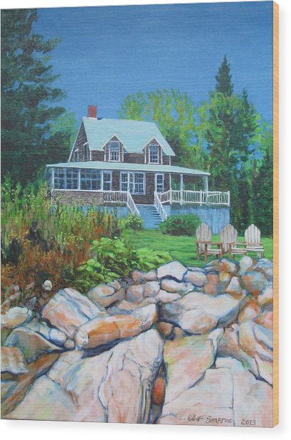 Maine Cottage Wood Print