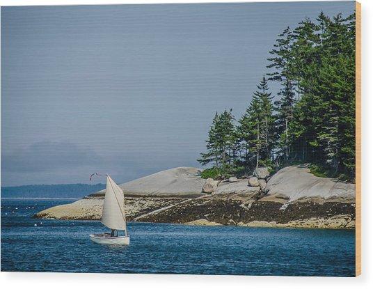 Maine Dinghy Sailing Wood Print